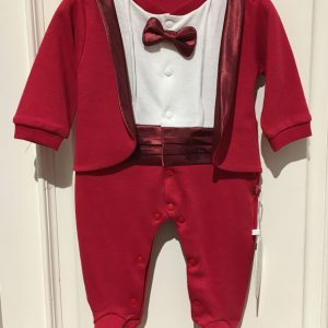 Onesie Smoking bordeaux rood met strikje