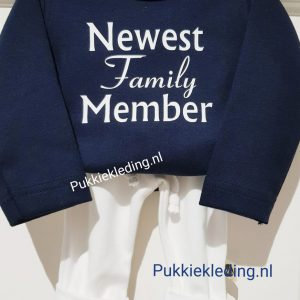 Tweedelige set Newest Family Member Marineblauw/Wit