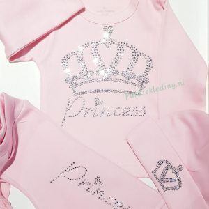 Tweedelige set 'Kroon & Princess rhinestones' in diverse kleuren