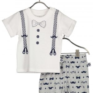 Set T-shirt met kort broekje ´Mr. Snor´ by Blue Seven